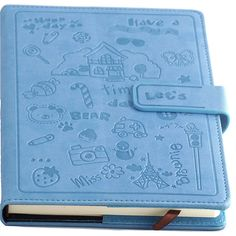- Soft leather diary journal in a printed sky blue cover - Journal contains 128 sheets (A5) and has pockets to store personal items and a section to enter personal information - It features a magnetic