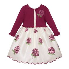 Girls 7-16 American Princess Embroidered Floral Bouquet Dress & Cardigan Sweater Set, Girl's, Size: