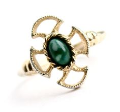 Vintage Cross Maltese Ring - Adjustable Gold Tone Signed Avon Green Stone Costume Jewelry / Baroness by Maejean Vintage, $15.00