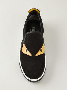 Fendi Monster Slip-On Sneaker, Black