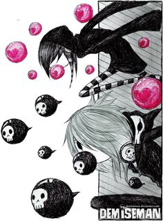 C ♀& Valentine♀ ) Gothic Drawings, Dark Drawings, Cartoon Drawings, Emo Art, Goth Art, Creepy Pictures, Pictures To Draw, Arte Emo, Cyberpunk Anime