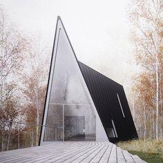Back deck at the Allandale A-frame masterpiece. #alpinemodern