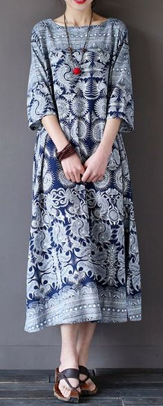 US$27.99 Only Vintage Sleeve Ethnic Printed Long Maxi Dresses For Women.Shop Today!