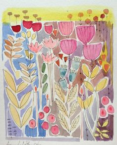 Original Water Colour Painting 'Floral with Berries' Signed Annabel Burton