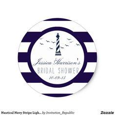 Nautical Navy Stripe Lighthouse Bridal Shower Classic Round Sticker