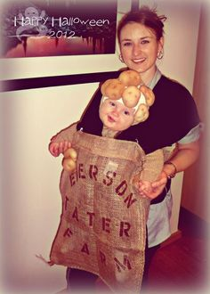 Homemade sack of potatoes baby costume using a baby carrier. :)