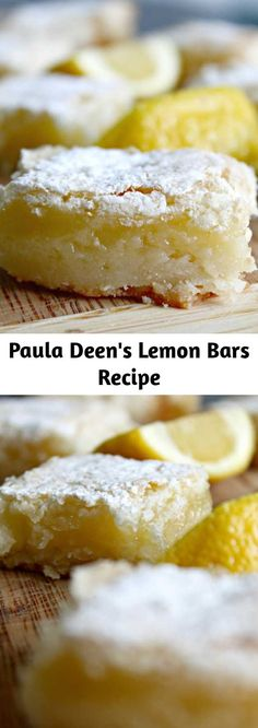 Paula Deen's Lemon Bars Recipe - If you& looking for a fairly quick and light dessert, this one is perfect. I like what Paula - Mini Desserts, Delicious Desserts, Yummy Food, Easy Lemon Desserts, Recipes For Desserts, Light Dessert Recipes, Quick Easy Desserts, Quick Recipes, Healthy Recipes