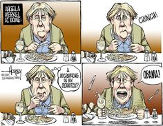 This David Horsey cartoon is a satirical take on the NSA European spying scandal, particularly with Germany and their chancellor, Angela Merkel. The humor in finding a microphone in her food references the allegation that the NSA went as far as wiretapping her personal phone conversations. http://www.latimes.com/world/la-fg-nsa-diplo-fallout-20131031,0,2777775.story#axzz2jMnsh9s3