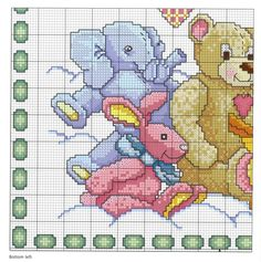Realizza una copertina in tela aida in pura lana, per la car Elephant Cross Stitch, Cross Stitch Baby, Cross Stitch Charts, Cross Stitch Patterns, Cross Stitching, Cross Stitch Embroidery, Crochet Bear, Hand Embroidery Patterns, Baby Quilts