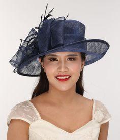 Church Kentucky Derby Carriage Tea Party Wedding Wide brim Sinamay Hat Navy  Blue f079d71283c9