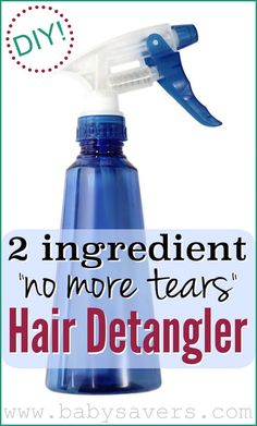 How to make DIY Homemade hair detangler. Only 2 ingredients and tear-free!
