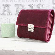 womens wallet leather purple mauve small handmade by elfenklang