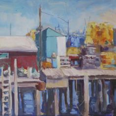 Fisherman's Wharf by Jillian Herrigel, Dimensions: 14 x 14 in, Price: $350.00