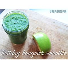 Holiday Hangover Smoothie:  1/2 a green apple 1 Persian cucumber  A hand full of spinach Lemon juice Water  Chia seeds Blend it all together and enjoy.