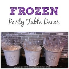 Disney Frozen Party Table Decor Centerpiece-reuse turtle buckets and spray paint white, add a snowflake