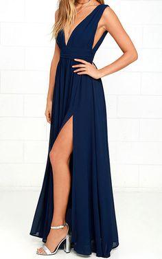 Heavenly Hues Navy Blue Maxi Dress via @bestmaxidress