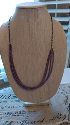Purple Beaded Necklace and 1/2 Chain Necklace: 30.5 inches end to end; $25 www.etsy.com/shop/LouisianaBayouBeads