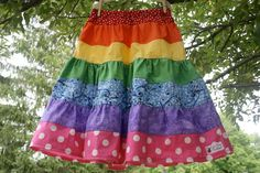 RAINBOW Skirt, Long Tiered Ruffle Twirl, Girl Toddler size 2T - 8Y. $41.00, via Etsy.