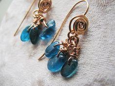 Kyanite Earrings Rustic Aqua Blue kyanite earrings by MADAMBLUEONE, $25.00