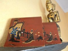 Asian Bookends red handpainted  Vintage Japan by MADMrs on Etsy, $14.00