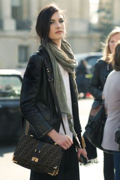 love the looser fit of this leather jacket