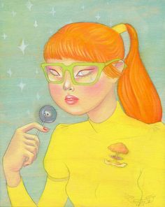 """wishcandy: """" wishcandy: """" Venus. oil and graphite on panel. 8x10 inches. 2010 Inspired by space, the 80s, and war. My intergalactic babe. """" Nostalgia sunday! I also need to make more neon space..."""