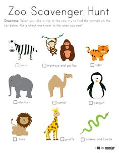 Zoo Scavenger Hunt Toddler and Preschool Free Printable from www.misformonster.com