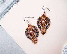 Micro macrame earrings - Tangerine Copper Blue Elegant SuperDuo