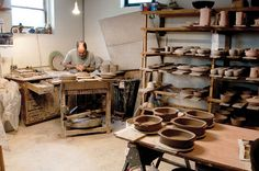 Guillermo Cuellar in his studio located in Shafer, Minnesota. Cuellar showed us his studio in the April 2011 issue of Ceramics Monthly. http://ceramicartsdaily.org/ceramics-monthly/ceramics-monthly-april-2011/