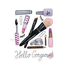 "More illustrations LINE BOTWIN ""girly illustrations"" #chic #fashion #girly #illustration  #theprettypinkstudio #etsy #makeup #cosmetics #mascara #lipstick #nailpolish #maquillage #cosmétiques #rougealevres #vernis"