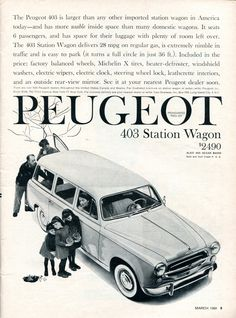 1960 Peugeot 403 Station Wagon Advertisement Road & Track March 1960