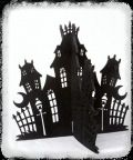 """#1927 - 3-D Haunted House Felt House 10"""" x 10"""" 3mm Black Felt Haunted House. House slides together easily to form a Table Top Sculpture that is perfect for any Halloween Display. Great shown with our Felt Ghosts #1961 & #1962.  Minimum Order: 3"""