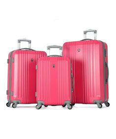 This Pink Corsair Three-Piece Luggage Set is perfect! #zulilyfinds