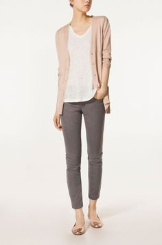 Massimo Dutti Cardigan with silk edging - sand brown