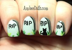 Amber did it!: R.I.P. Halloween Nail Art and Tutorial