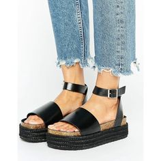 ASOS FERGIE Two Part Chunky Sandals (€30) via Polyvore featuring shoes, sandals, black, ankle wrap sandals, black open toe shoes, asos sandals, black ankle strap shoes and asos shoes