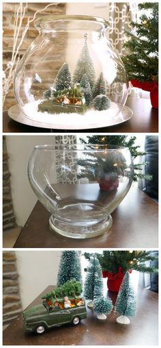 Create this easy vintage Christmas scene under glass with a punch bowl and a few iconic pieces.