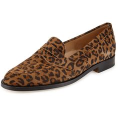 Manolo Blahnik Consulta Suede Penny Loafer (1.425 RON) ❤ liked on Polyvore featuring shoes, loafers, flats, leopard, leopard print shoes, leopard print flats, penny loafer shoes, leopard shoes and leopard loafer flats