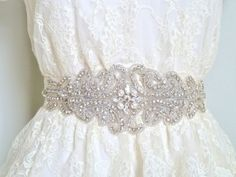 FARAH III  Couture Rhinestone Bridal Crystal Sash by LiveAdorned, $185.00