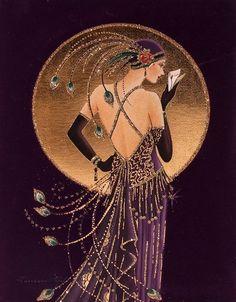 Ideas Art Deco Woman Illustration Alphonse Mucha For 2019 Art Deco Artwork, Art Deco Paintings, Art Deco Posters, Painting Art, Art And Illustration, Illustration Fashion, Arte Art Deco, Estilo Art Deco, Art Deco Artists