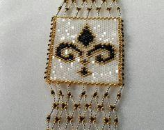 Fleur De Lis - FOUR Patterns! Odd Count Peyote Bracelet, Block and Slide, and Brick Stitch Charm