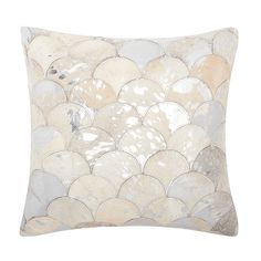 Mina Victory Natural Leather and Hide Metallic Balloons White/ Silver Throw Pillow by Nourison (20 x 20-inch)