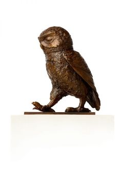 Bronze Garden Or Yard / Outside and Outdoor sculpture by artist Marie Shepherd titled: 'Little Owl II (Passing Time bronze Walking Waddling statue)'