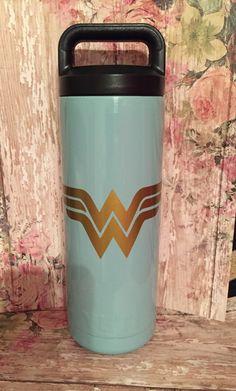 Items similar to Yeti Rambler bottle 18 oz powder coated teal Wonder Woman-student-tiff blue-super hero-custom- teal- gift on Etsy Insulated Tumblers, Powder Coating, Teal, Blue, Random Stuff, Graduation, Funny Quotes, Wonder Woman, Mugs