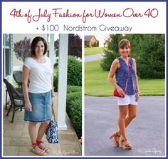 I'm joining forces today with Jo-Lynne Shane's Blog to share some 4th of July fashion! Plus we're giving away a $100 Nordstrom gift card!! #fashionover40 #4thofjulyfashion #summerfashion