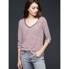 Gap Women Long Sleeve Stripe V Neck Pocket Tee ($30) ❤ liked on Polyvore featuring tops, t-shirts, pink stripe, regular, striped t shirt, v neck pocket tee, pink v neck t shirt, gap t shirts and striped long sleeve t shirt