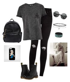 """Punk/Rock N' Roll"" by hanakdudley ❤ liked on Polyvore featuring Dr. Martens, Dsquared2, MLC Eyewear and Miss Selfridge"