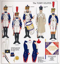 French;Imperial Guard, Turin Velites, L to R Corporal, Sergeant, Drummer, Campaign Dress & Subaltern