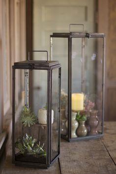 S/2 Tall Rectangle Lanterns - Hudson and Vine