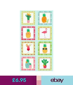 FRUITY  FRIENDS 8 square Panel 100/% Cotton fabric Makower Size 110 cm x 60 cm